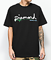 Diamond Supply Co. Floral Gem Script camiseta negra