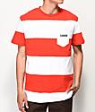 Diamond Supply Co. Origin camiseta a rayas en blanco y rojo