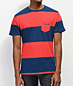 Diamond Supply Co. Script Stripe Pocket Red & Navy T-Shirt
