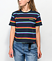 Dickies Rainbow Stripe Blue Crop T-Shirt