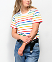 Dickies Rainbow Stripe White Crop T-Shirt