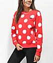 Disney by Vans Minnie Red Boxy Crew Neck Sweatshirt