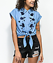 Dizzy Lizzy Blue Floral Tencel Button Up Short Sleeve Shirt