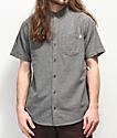 Dravus Alvin Grey Woven Short Sleeve Button Up Shirt