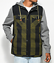 Dravus Blocked Feedback Olive & Black 2fer Vest Hoodie