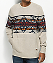Dravus Harold Oat Fair Isle Crew Neck Sweater
