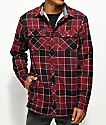 Dravus Jasper Sherpa Burgundy & Red Flannel Shirt