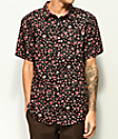 Dravus Landon Roses Black Short Sleeve Button Up Shirt