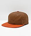 Dravus Natural Waxed Brown & Orange Strapback Hat