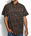 Dravus Rands Ditsy Black & Burgundy Short Sleeve Button Up Shirt