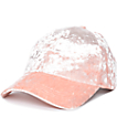 Dusty Pink Crushed Velvet Baseball Hat