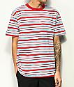 EPTM. camiseta azul claro y rojo oscuro con rayas