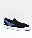 Emerica Wino G6 Kader Black & Blue Slip-On Skate Shoes