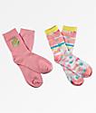 Empyre 2 Pack Brenn Smile Face Pink Crew Socks