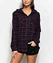 Empyre Aimie camisa de franela con capucha en negro y color mora