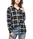 Empyre Aimie camisa rota con franela en negro y color mostaza