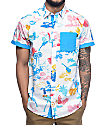 Empyre Aloha White & Blue Tropical Short Sleeve Button Up Shirt
