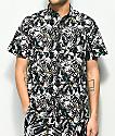 Empyre Bend Palm camisa de manga corta en negro y blanco