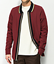 Empyre Bowler Long Sleeve Zip Burgundy Polo