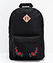Empyre Brenda mochila negra con bordados de rosas