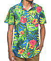 Empyre Broch Navy Tropical Floral Short Sleeve Button Up Shirt