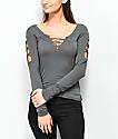 Empyre Cailin Dark Slate Laced-up Long Sleeve T-Shirt