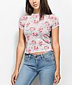 Empyre Cali Stripe camiseta floral en color malva