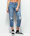 Empyre Cassia Medium Blue Crop Straight Jeans