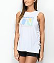 Empyre Charlie Dream On Lace Up White Tank Top