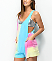 Empyre Chloe Aqua, Pink & Yellow Tie Dye Swim Cover-Up