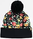 Empyre Colette Floral Print Black Pom Beanie
