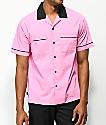 Empyre Daniel Pink & Black Button Up Bowling Shirt