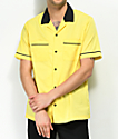Empyre Daniel Yellow & Black Button Up Bowling Shirt