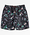 Empyre Dubtub Island Black & Multicolored Neon Elastic Waist Board Shorts