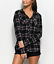 Empyre Eddy Grey, Wine & White Hooded Flannel Shirt