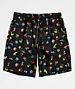 Empyre Grom Neon Light Black Elastic Waist Board Shorts