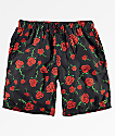 Empyre Grom Rose Black Elastic Waist Board Shorts