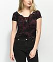 Empyre Hawn Black & Burgundy Tie Dye Lace Up T-Shirt