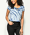 Empyre Hawn Blue Tie Dye Lace Up Top