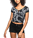 Empyre Hawn Lace Up Black Tie Dye T-Shirt