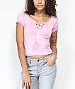 Empyre Hawn camiseta tie dye rosa con cordones