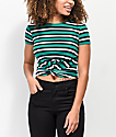 Empyre Ilaria Stripe Green Front Knot Crop T-Shirt