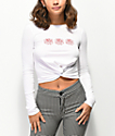 Empyre Ilariana Rose Knot Front White Crop Long Sleeve T-Shirt