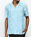 Empyre Jeremy Light Blue & Flamingo Short Sleeve Button Up Shirt