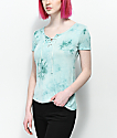 Empyre Keaton Lace Up Blue Tie Dye Top