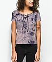 Empyre Keaton Lace Up Plum Tie Dye Top