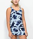 Empyre Kipling vestido de playa azul con efecto tie dye