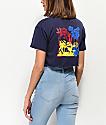 Empyre Kipsy Multi Neon Rose Navy Crop T-Shirt
