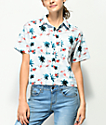 Empyre Lanikai Flamingo Crop Short Sleeve Button Up Shirt