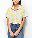 Empyre Lanikai Lemon Crop Short Sleeve Button Up Shirt